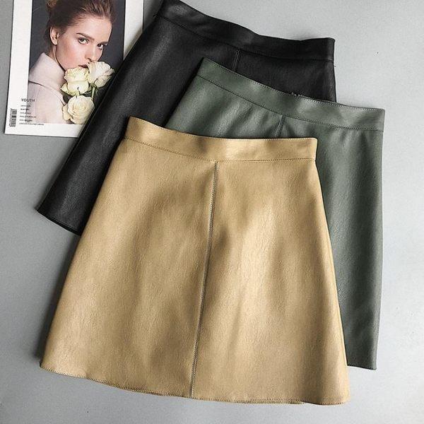 小皮裙女2019新款chic高腰裙褲短裙半身裙PU裙子包臀裙秋裝A字裙
