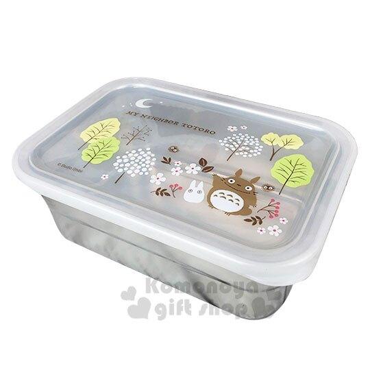 〔小禮堂〕宮崎駿Totoro龍貓 方形塑膠蓋不鏽鋼保鮮盒《綠銀.招手》850ml.便當盒.餐盒
