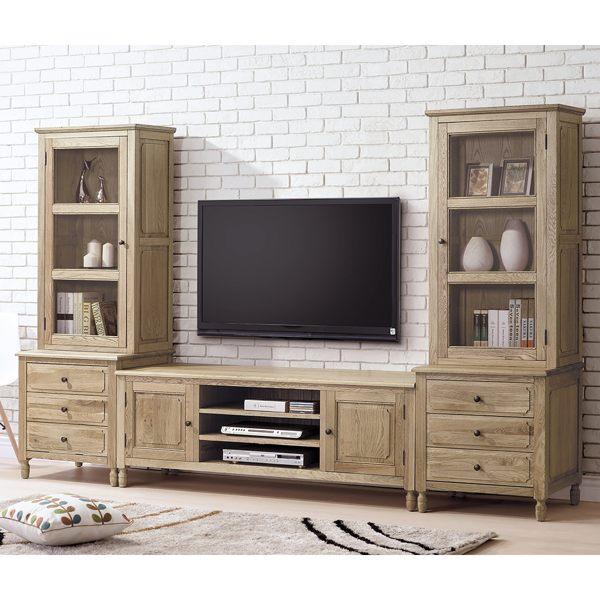 【森可家居】伊利諾白橡全實木9.5尺電視櫃組 8HY354-01
