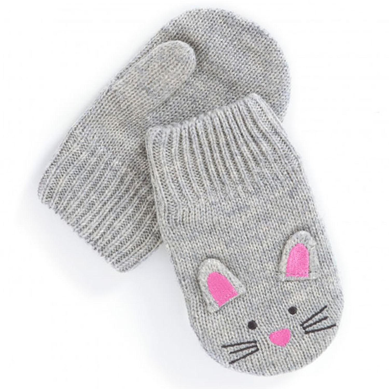 英國 JoJo Maman BeBe - 保暖舒適羊毛手套-灰色小鼠