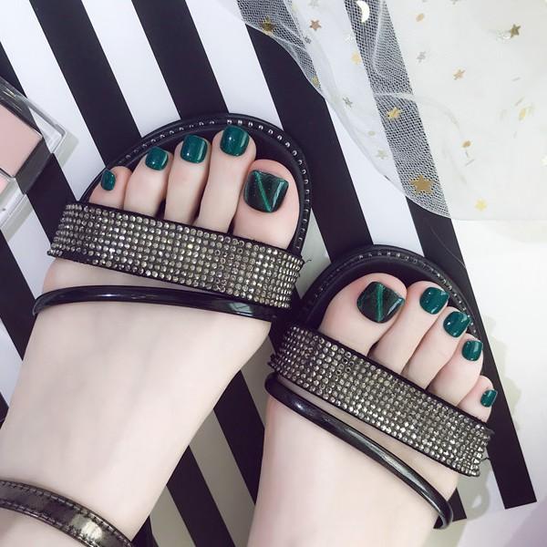 【現貨】 NF125 寶石綠 貓眼腳趾甲片 穿戴美甲片成品 手工光療夏季流行貓眼腳指甲片系列