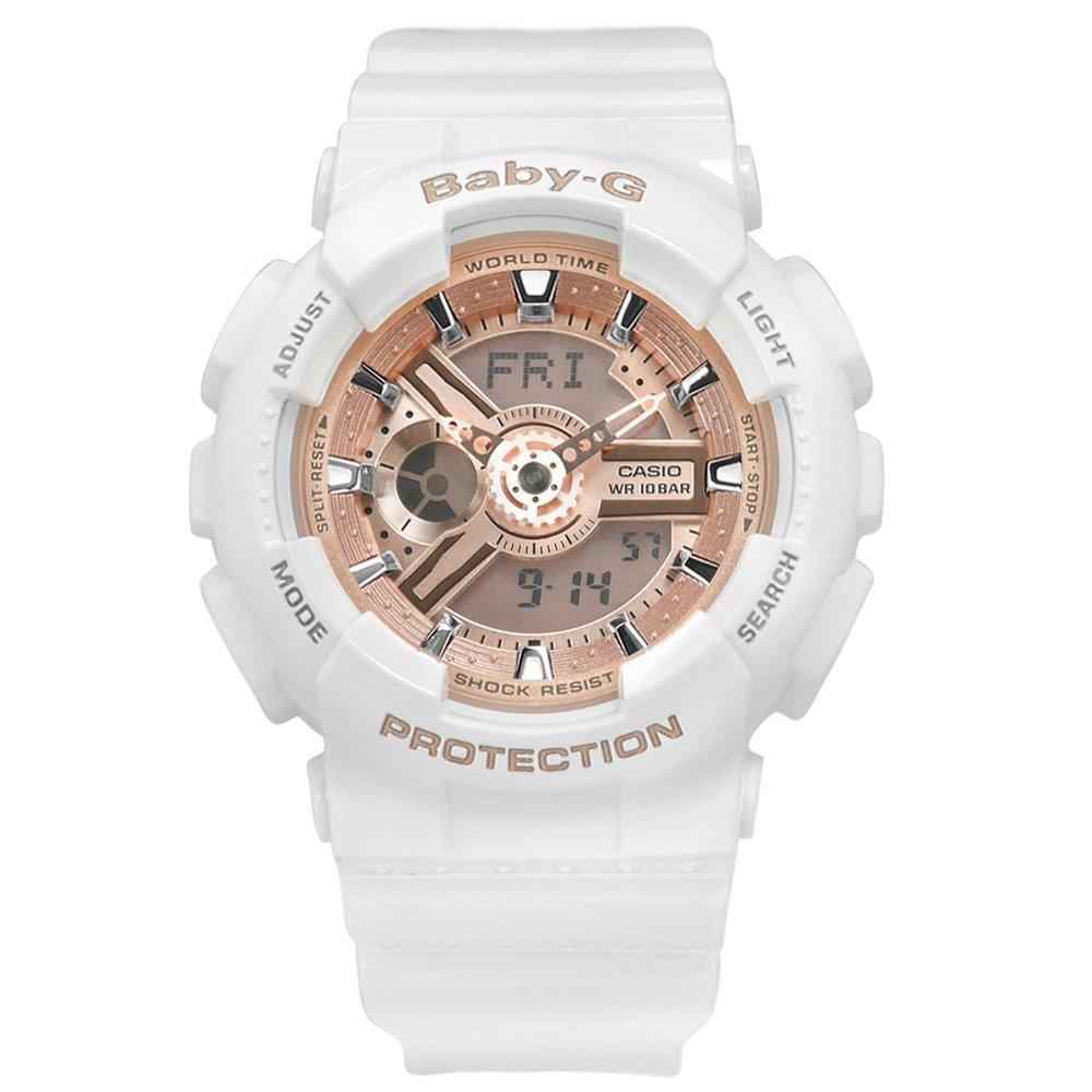 Baby-G CASIO / BA-110-7A1 / 卡西歐 雙顯 帥氣甜美 計時 防水 運動 橡膠手錶 玫瑰金x白 43mm
