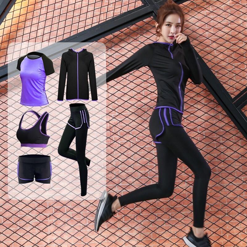 超顯瘦防曬速乾五件運動服套裝 瑜珈服 瑜珈褲吸濕排汗衫黑色女生運動褲長袖短袖大尺碼休閒瑜珈運動慢跑服