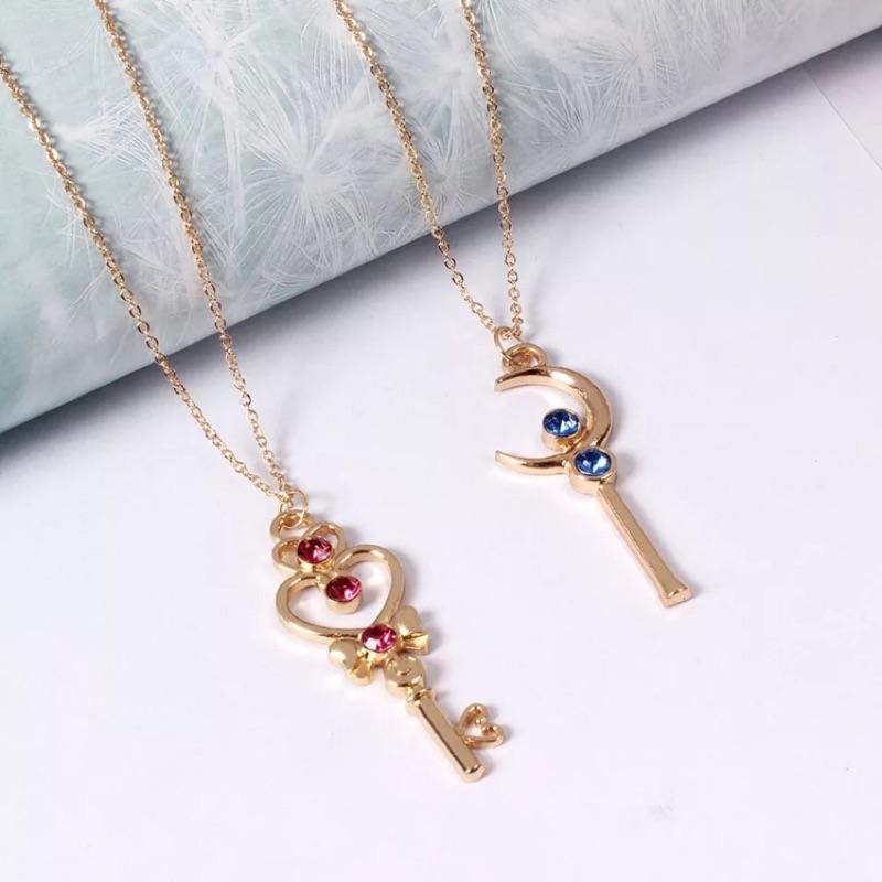 ToToShop 美少女戰士系列 月亮法杖 心杖 墜飾 金鍊銀鍊 日系流行 韓系風格 鎖骨鍊項鍊 銀飾金飾
