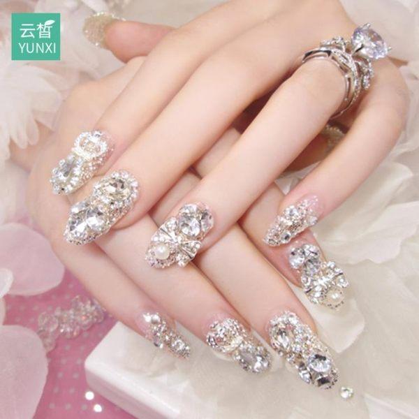 甲油膠 指甲貼片指甲貼紙防水持久美甲貼紙全貼韓國3d可穿戴飾品美甲成品