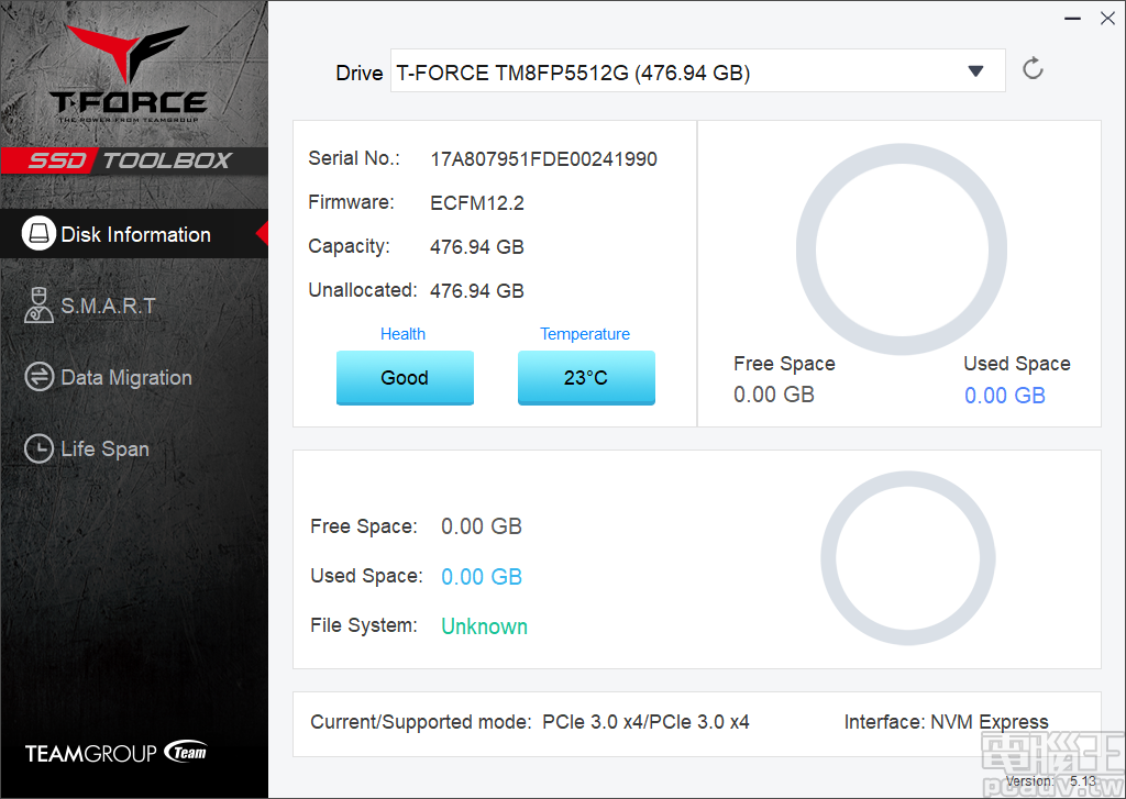 ▲ SSD Toolbox 採用 T-Force 電競風格介面,下載後解壓縮即可執行,是個無須安裝的綠色軟體。