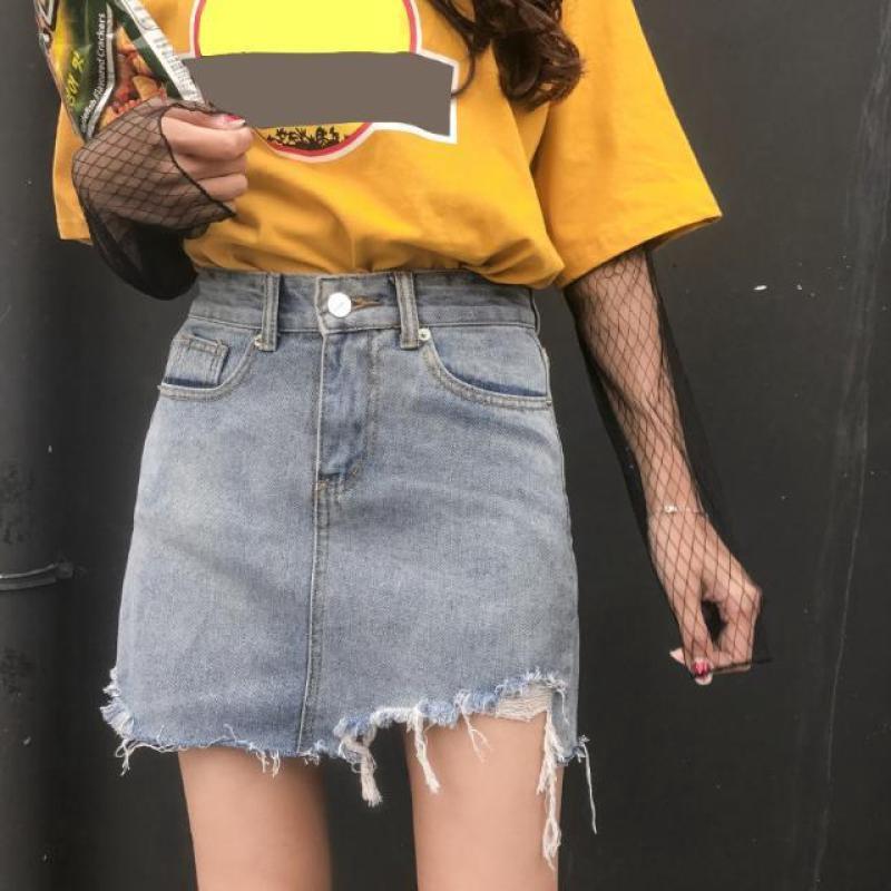 夏季新款韓版磨破毛邊高腰牛仔短裙bf風學生復古顯瘦包臀女生休閑A字裙195
