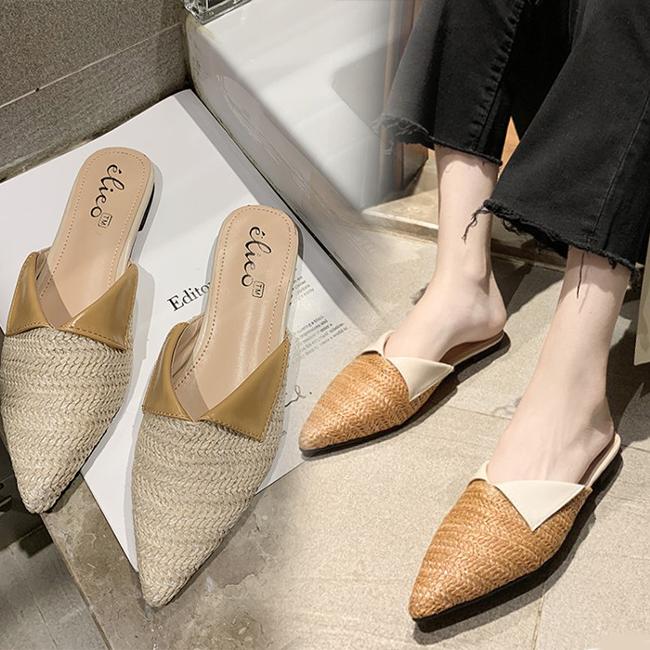 FOFU-穆勒鞋簡約舒適編織襯衫領造型尖頭穆勒鞋低跟拖鞋【02S10818】