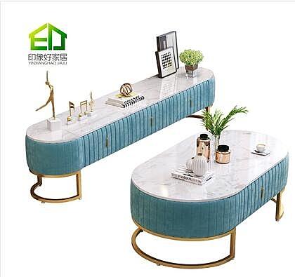 北歐大理石電視柜茶幾組合現代簡約網紅客廳家具套裝港式輕奢地柜