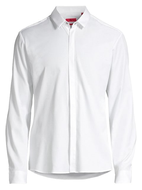 Sleek cotton shirt with covered button front and top snap.; Point collar; Long sleeves; Button cuffs