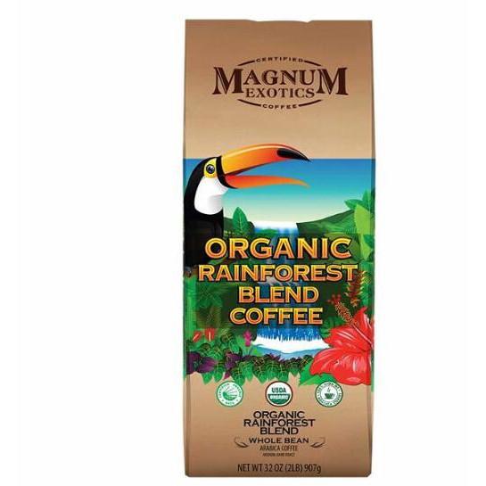 100% 阿拉比卡咖啡豆生豆來自玻利維亞及祕魯中深度烘焙有機認證及雨林聯盟認證風味微甜芳香商品規格品名 Magnum 熱帶雨林有機咖啡豆907公克商品重量 907公克成分 有機咖啡豆保存方式 請置於陰