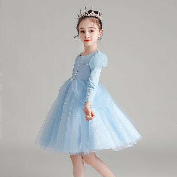 女童禮服 秋冬新款長袖兒童演出禮服連身裙童裝洋氣公主裙女童蓬蓬紗2020年