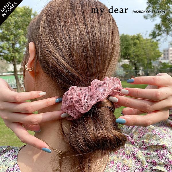 031303♦ 網紗點點布料/彈性髮圈