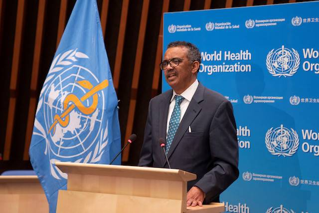 Tedros Adhanom Ghebreyesus, director general of World Health Organization (WHO) speaks at the virtual 73rd World Health Assembly (WHA) following the COVID-19 outbreak in Geneva, Switzerland, May 18,.