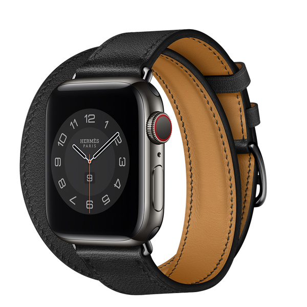 Apple Watch Hermès (GPS + 行動網路);40 公釐太空黑色不鏽鋼錶殼;Noir 黑色 Double Tour 錶帶