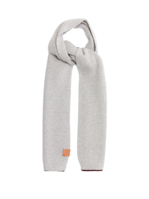 Loewe - Logo-patch Ribbed-wool Scarf - Womens - Grey