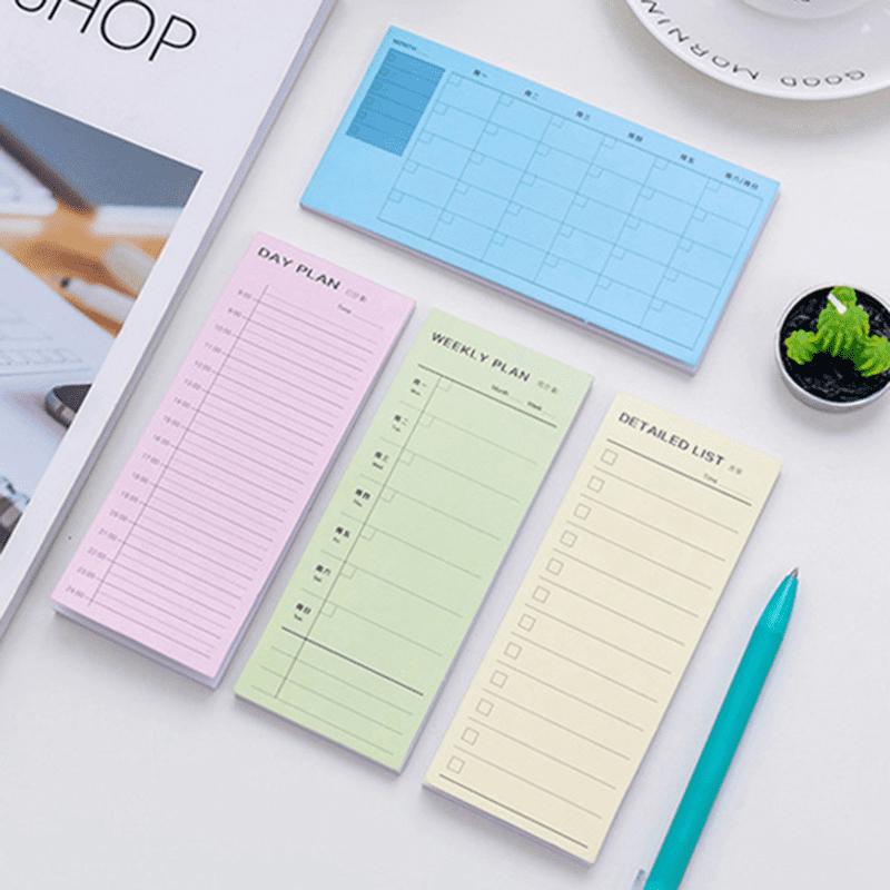 隨意黏日程計畫便條本,有多款可供選擇!N次貼設計,方便實用,隨手貼、無殘膠,辦公留言、生活記事都方便,輕鬆一貼,黏性好!長條周計畫備忘錄,紙質厚實,書寫流暢,書籤應用、備忘提醒超簡單!便簽你的生活,便