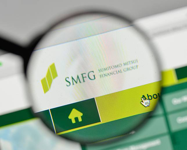 This file photo taken in 2017 shows the Sumitomo Mitsui Financial Group logo on the website homepage.