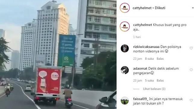 Begini Cara Cerdik Pemotor Menghindari Polisi (Instagram @cattyhelmet)
