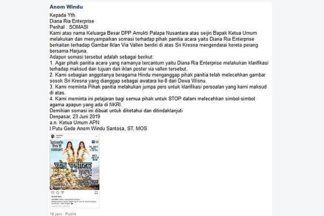 Somasi daring yang dilayangkan Ketua DPP APN, Anom Windu, kepada pihak penyelenggara konser Via Vallen di Kutoarjo, Jawa Tengah.(Facebook/Anom Windu)