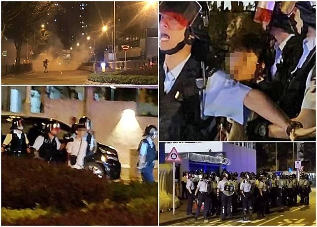 2少年被捕後近200人圍將軍澳警署,警放催淚彈驅散人群。(胡德威攝/互聯網)