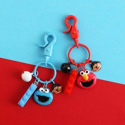 芝麻街鑰匙扣女韓國可愛卡通紅色艾摩毛絨公仔書包掛飾包包掛件【全館免運】
