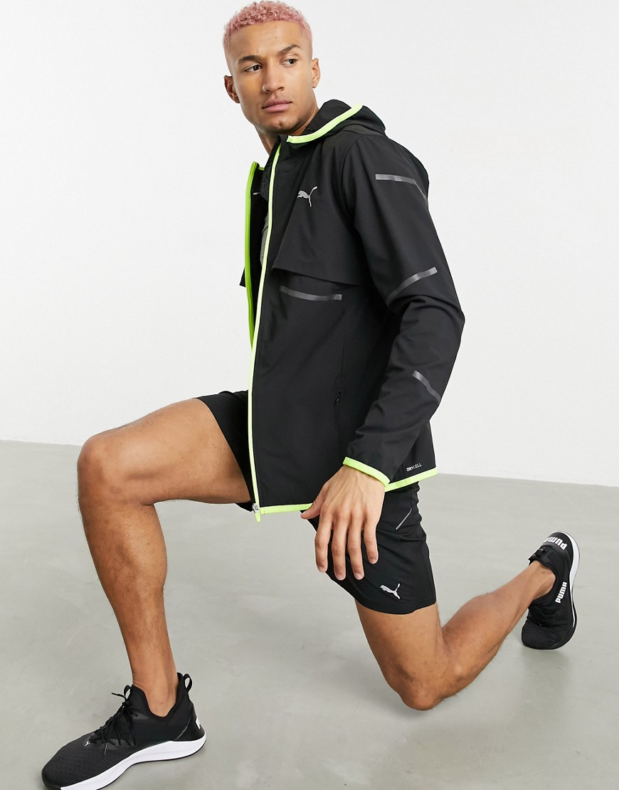 Jacket by PUMA Elevate your run Fixed hood Zip fastening Long sleeves PUMA logo print to chest Refle