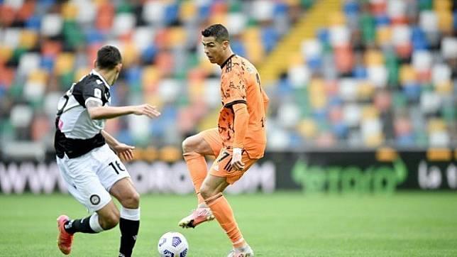 Cristiano Ronaldo dalam pertandingan Juventus melawan Udinese