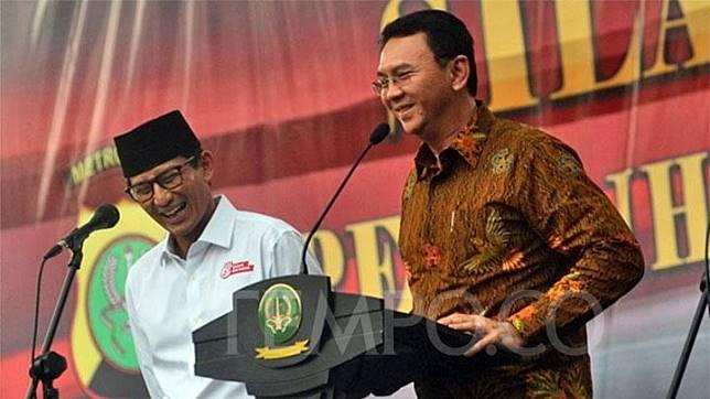 Sandiaga Uno dan Basuki Tjahaja Purnama alias Ahok. TEMPO/Imam Sukamto
