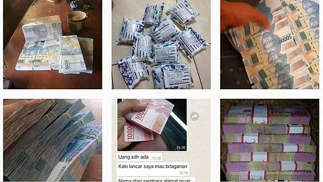 Tangkapan layar penjualan uang palsu di media sosial.