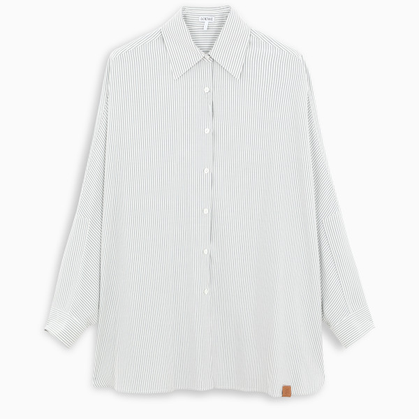 Wide shirt by Loewe in striped silk featuring pointed collar, front placket and buttoned cuffs. Fall