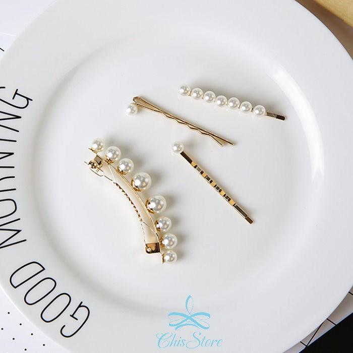 Chis Store【珍珠一字髮夾四件組】韓國 秀氣 氣質 金屬 金色 瀏海夾 髮邊夾 夾子 波浪一字夾 百變造型夾