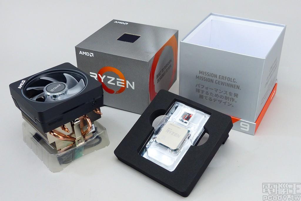 ▲ Ryzen 9 3900X 採用硬質紙盒,內容物沒有變動,包含 1 顆處理器、Ryzen 貼紙、說明書,以及 1 個 Wraith Prism 散熱器。