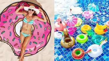 精選夏日海邊必備8樣繽紛拍照道具~甜甜圈沙灘巾、趣味泳圈、派對墨鏡全部買下去!