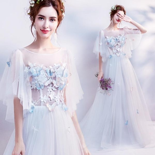 仙仙蝴蝶度假旅拍寫真輕婚紗草坪戶外海邊沙灘外景新娘婚紗2022t