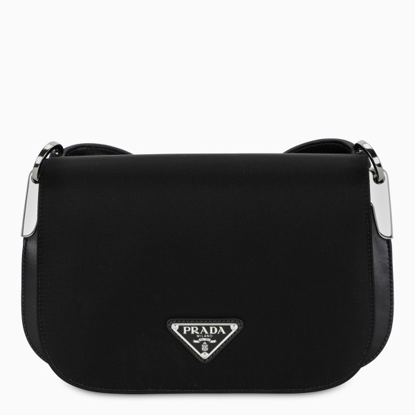 Shoulder bag by Prada in black nylon, featuring an adjustable and detachable leather shoulder strap,