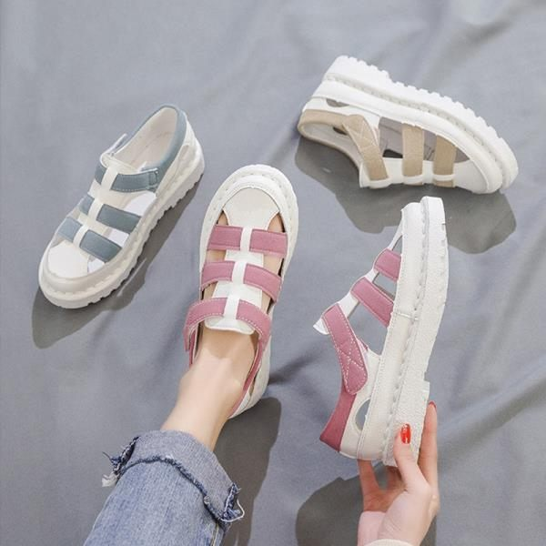 全館83折 涼鞋女2019新款夏季學生鞋子韓版原宿風休閑平底百搭羅馬包頭女鞋
