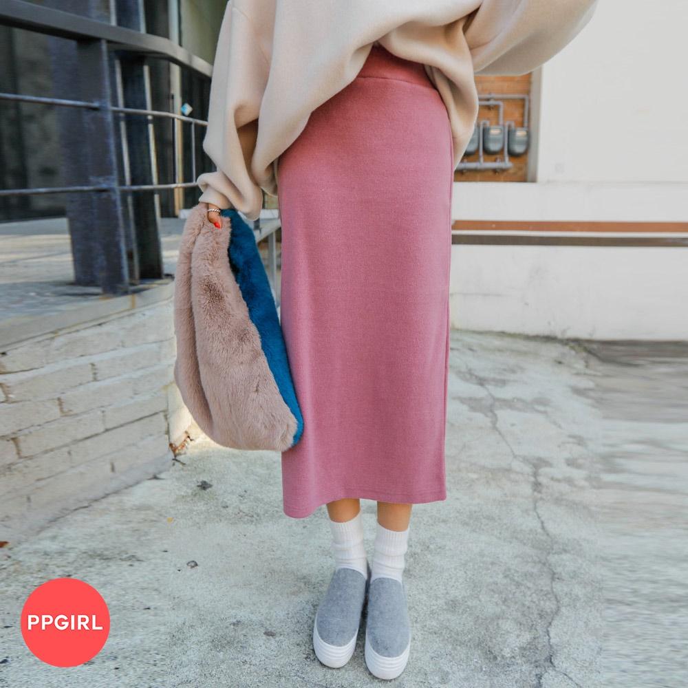 [PPGIRL官方旗艦店]後開衩H LINE素色長裙