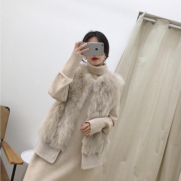 皮草馬甲新款秋冬韓版仿狐貍毛呢背心毛毛茸顯瘦短款外套女