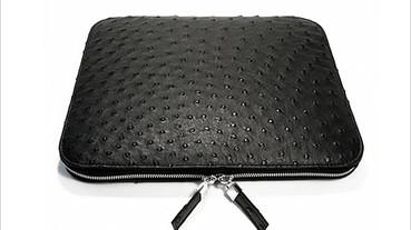 黑色鴕鳥皮革iPad保護套