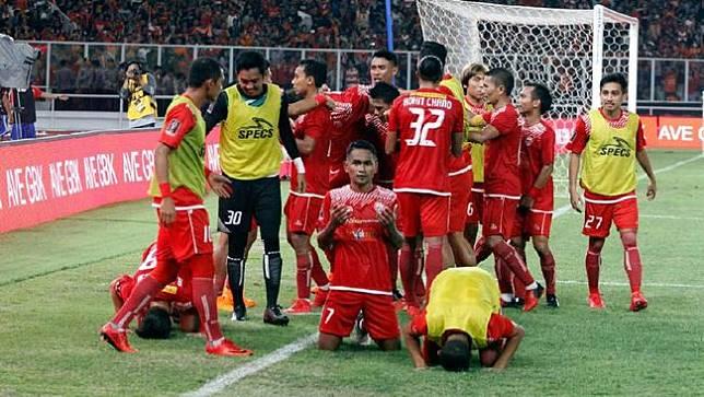 Persija Juara Piala Presiden 2018 Skuat Persija berselebrasi setelah membobol gawang Bali United dalam final Piala Presiden 2018. (Dok. Persija)