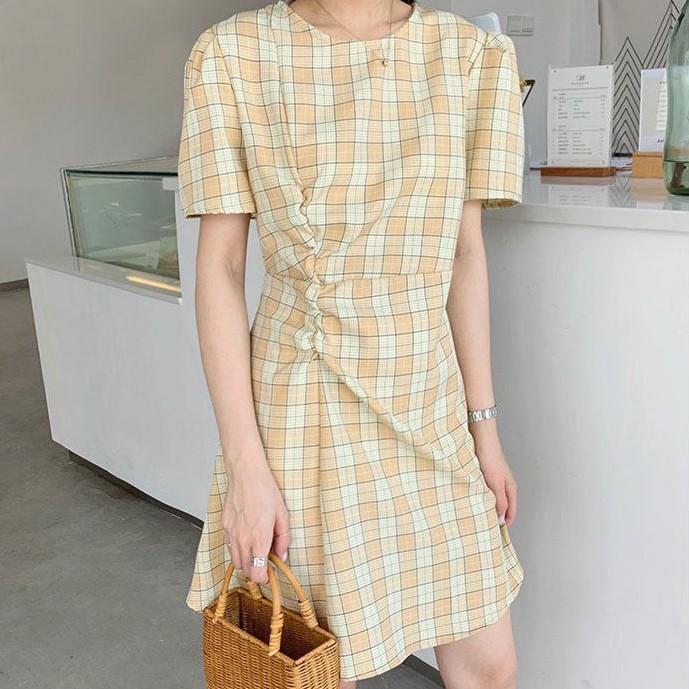 [現貨]GRASS 熱門抓褶格子洋裝 格子短裙 格子裙 裙子 洋裝 A字裙 連身裙 連衣裙 [C276]