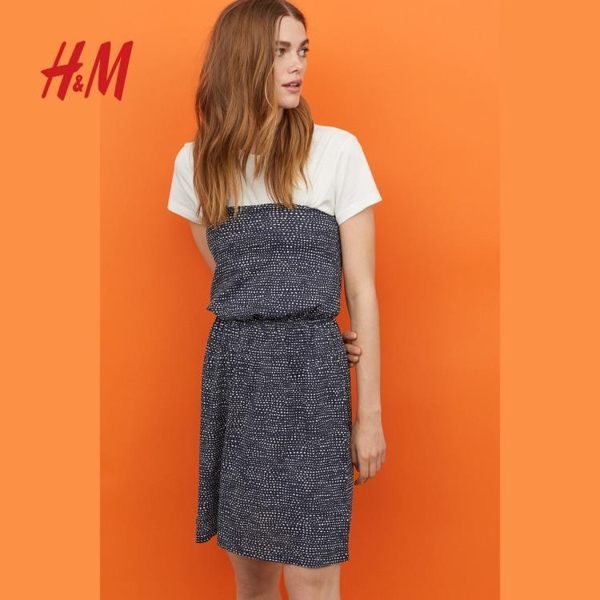 抹胸洋裝H&M女裝裙子女 簡約基礎外搭抹胸鬆緊連衣短裙連身裙 HM0299733coco衣巷
