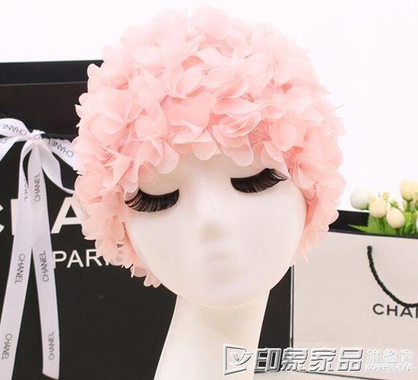 泳帽女可愛韓國寬鬆長髮布料成年女士時尚大號加大日系花瓣不勒頭