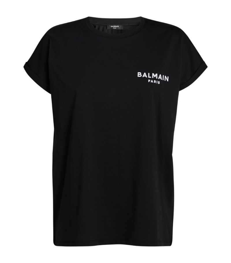 A recurring staple for the French House, the logo T-shirt from Balmain is given a flocked update for