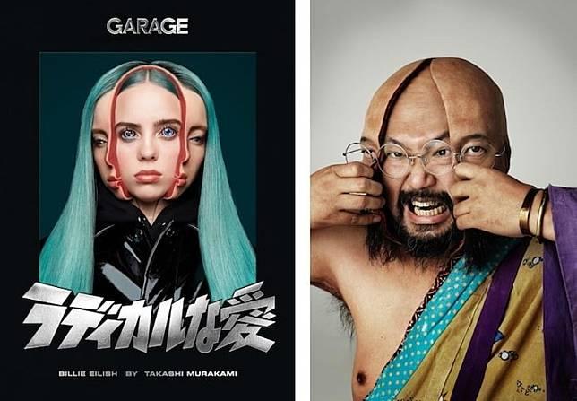 去年Billie Eilish替英國時尚雜誌《GARAGE》所拍攝的封面,就是由村上隆以早年個人藝術雕塑《Split》的分體概念加以創作而成。(互聯網)