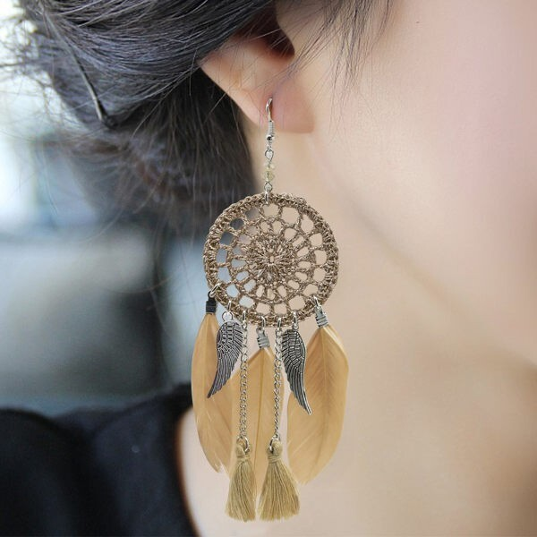 奢華補夢網羽毛耳墜 耳環 飾品