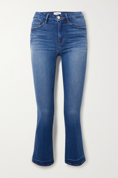 蓝色牛仔布 - 正面配有单颗纽扣和隐形拉链 - 94% 棉,4% 涤纶,2% 弹性纤维 - 品牌特定颜色:Ambrose - FRAME 这款