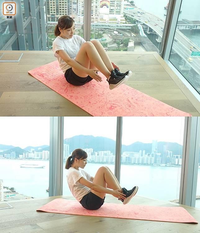 想進一步提升難度的話,可以將雙手提起,只用臀部作支撐點。(胡振文攝)