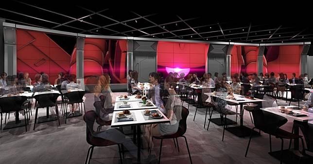 餐廳區設計仿照戰艦內的食堂,牆身的窗其實是螢幕,播放各種宇宙風景。(互聯網)